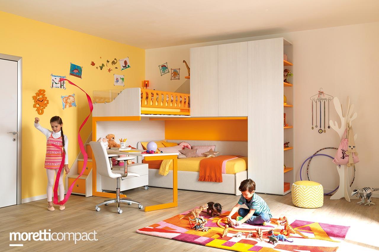 camera letto soppalco arancione - Soluzioni Casa