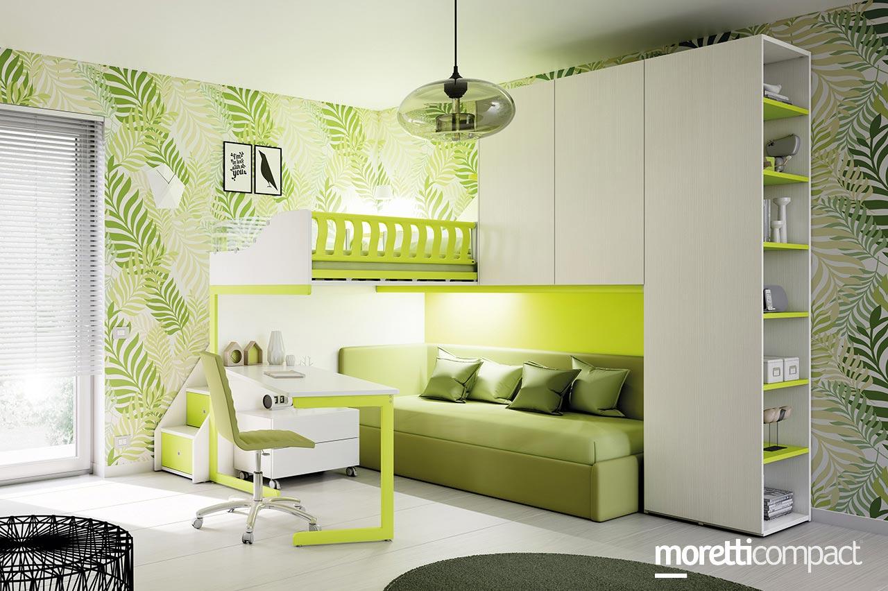 camera letto soppalco verde - Soluzioni Casa