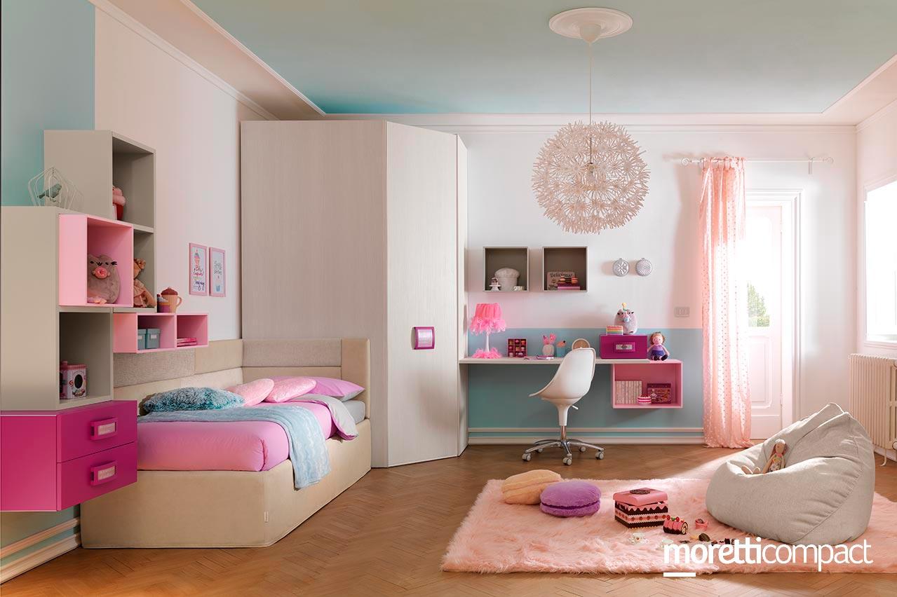 cameretta moretti compact bambina rosa - Soluzioni Casa